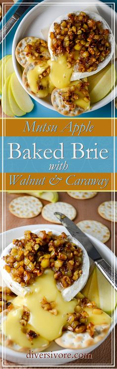 Apple Baked Brie with Honey, Walnut and Caraway - a perfectly simple and delicious appetizer or starter.