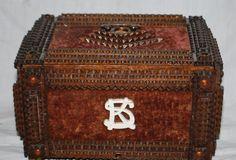 Tramp Art Jewelry Box with Velvet.