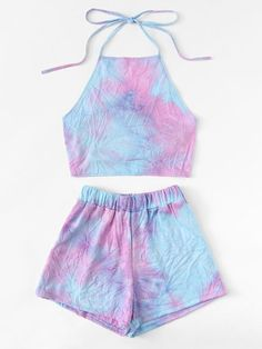 Knot Back Halter Top With Shorts - Knot Back Halter Top With ShortsFor Women-romwe Source by emmadrrwanger - Crop Top Outfits, Kids Outfits Girls, Cute Outfits For Kids, Teenager Outfits, Cute Summer Outfits, Cute Casual Outfits, Pretty Outfits, Stylish Outfits, Girls Fashion Clothes