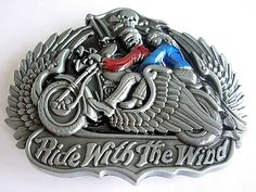 Ride With The Wind Belt Buckle - Skull Angel Wings Motorbike Belts Buckles