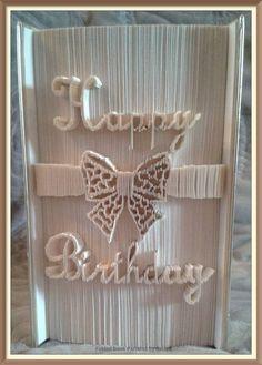 Happy Birthday Bow Book Folding Pattern by JHBookFoldPatterns on Etsy