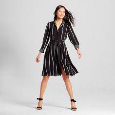 Women's Button Up Shirt Dress Black/Cream Stripe Xxl - Who What Wear