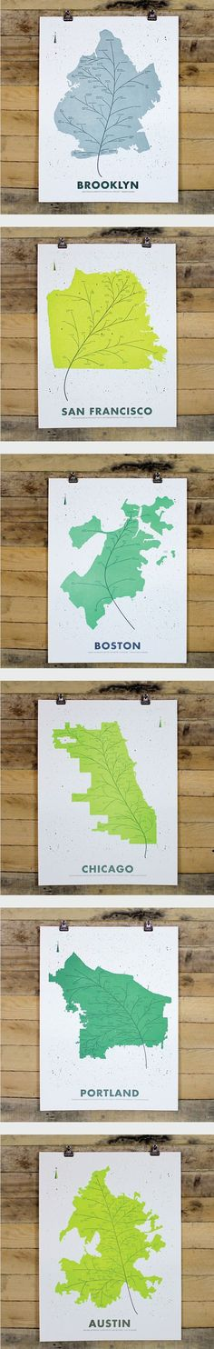 CITY LEAF MAP POSTERS Whether you hail from Brooklyn or Austin or have enjoyed favorite moments in Chicago or Portland, these leaf-inspired map posters are a beautiful way to showcase your city pride. www.holstee.com/...                                   Uploaded by user