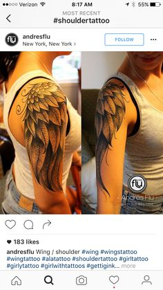Tattoos on neck Angle Wing Tattoos, Wing Tattoos On Back, Back Tattoo Women, Wing Tattoo Arm, Angel Wings Tattoo On Back, Tattoo Wings, Neck Tatto, Arm Sleeve Tattoos, Tattoo Hals