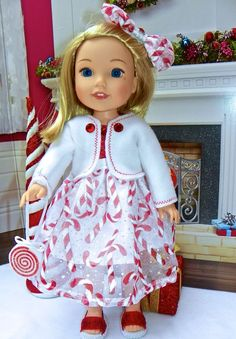 """6pc Wellie Wishers Cozy Cute Christmas dress clothes fits 14"""" American Girl doll"""