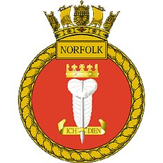 HMS Norfolk badge, Type 23 Frigate, commissioned to Chile in as Almirante Cochrane Type 23 Frigate, Navy Badges, Marine Commandos, Heavy Cruiser, Naval History, Royal Marines, Emblem, Navy Ships, Royal Navy