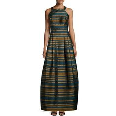 Kay Unger New York Sleeveless Metallic-Striped Gown ($340) ❤ liked on Polyvore featuring dresses, gowns, teal, brown sleeveless dress, fitted tops, jacquard dress, metallic evening gown and brown dress