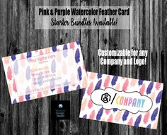 Pink and Purple Watercolor Feathers Business Card - Bundles Available - Home Office Approved - HO Fonts/Colors- Starter Marketing Kit Flyer Design Templates, Flyer Template, Lipsense Business Cards, Feather Cards, Fitness Flyer, Watercolor Feather, Elegant Business Cards, Name Logo, Standard Business Card Size