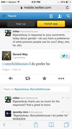 Gerard does use he/him/his pronouns.