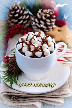 Image about winter in ❤Cups❤Coffee❤Tea by Cristela - Weihnachten - Hot Chocalate Coffee Gif, Coffee Love, Best Coffee, Coffee Cups, Good Morning Coffee, Good Morning Greetings, Good Morning Good Night, Mini Desserts, Decorating With Pictures