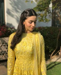 Yellow Lucknowi Manish Malhotra mehendi Anarkali on Alia Bhatt. WhatsApp us for Purchase & Inquiry : Buy Best Designer Collection from Indian Fashion Dresses, Indian Gowns Dresses, Dress Indian Style, Indian Designer Outfits, Indian Wear, Indian Attire, Pakistani Dresses, Indian Celebrities, Bollywood Celebrities