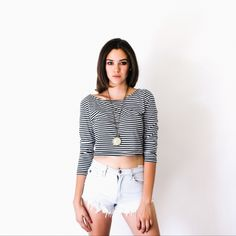 3/4 Crop - Knee Deep Denim / Black and white stripes with shorts. Crop tops fall style