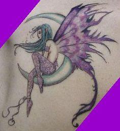 purple fairy on moon tattoo