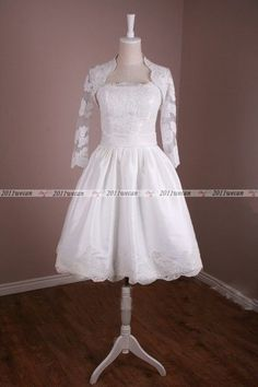 2014 New Style Custom Long Lace Sleeve Vintage Short Wedding Dress With Jacket
