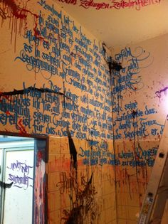 Woah. If I ever get my own place, I am so painting the walls solid colors and having a calligrapher come in to do quotes from books all over like this. // Calligraphy