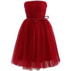 Chicwish Endless Red Tulle Bustier Mesh Prom Dress ($84) ❤ liked on Polyvore featuring dresses, red, red bustier, party dresses, red dress, red cocktail dress and tulle dress
