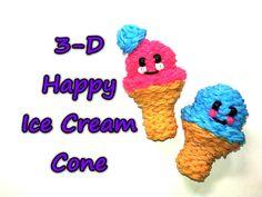 Happy Ice Cream Cone Tutorial by feelinspiffy (Rainbow Loom) Rainbow Loom Tutorials, Rainbow Loom Patterns, Rainbow Loom Creations, Rainbow Loom Bands, Rainbow Loom Charms, Rainbow Loom Bracelets, Beaded Bracelets, Loom Love, Fun Loom