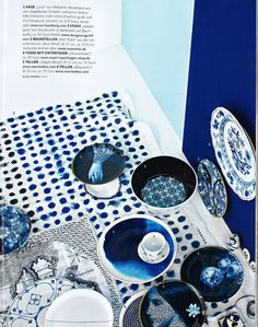 Designers Guild Amlapura indigo fabric as seen in Germany Schoner Wohnen