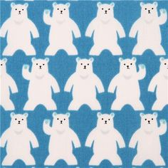 blue polar bear animal stripe cotton fabric from Japan 2