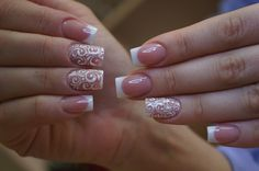 wedding nails White Tip French Manicure White Swirl Free-Hand Nail Art Decals