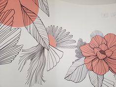 Plantas e Corais Rosas | lano Wall Painting Decor, Mural Wall Art, Diy Wall Art, Canvas Wall Art, Creative Wall Painting, Flower Art Drawing, Wall Drawing, Cute Patterns Wallpaper, Inspirational Wall Art
