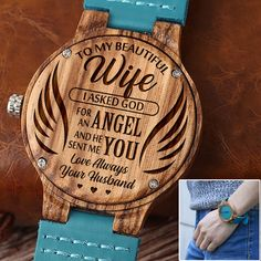 Get your wife something special! This is a beautiful watch made from real wood. The watch case is made from wood and the strap made from genuine leather. Also make a Great Birthday, Anniversery Gift. Great Gifts For Boyfriend, Great Gifts For Wife, Love Gifts, Birthday Gift For Him, Friend Birthday Gifts, Boyfriend Anniversary Gifts, Wooden Watch, Engraved Gifts, Gift Store