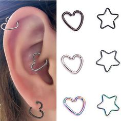 Surgical Steel Rainbow Heart Ring Hoop Helix Cartilage Tragus Daith Earring NEW