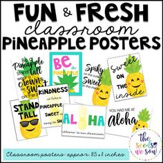 Ready for a quick and easy way to brighten your pineapple-lovin' classroom? Well, here you go! This fresh, eye-catching, bright, and fun poster set will do just that, and best of all, it's free! Included in this set are 8 coordinated pineapple-themed posters ready to print on 8.5 x 11 paper.
