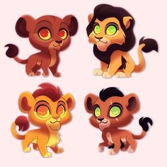 King Ahadi and Queen Uru with their sons, Mufasa and Scar. Lion King Series, Lion King 1, Lion King Fan Art, Lion Art, Disney Lion King, Chibi Disney, Disney Cats, Disney And Dreamworks, Baby Disney