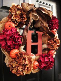 Fall Burlap Monogram Letter Wreath, Front Entry Wreath, Personalized Wood Letter, Autumn Decor, Hydrangea Orange Pumpkins on Etsy, $110.00