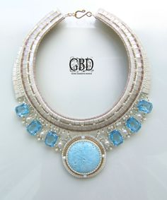 New amazing jewelry from Guzel Bakeeva Exclusive gorgeous necklace in blue and gray colours. Fits for evening apparel