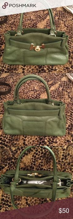 Cole Haan handbag Loden green with gold hardware, very sophisticated Cole Haan Bags Satchels
