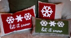 DIY Burlap Stenciled Christmas Pillows
