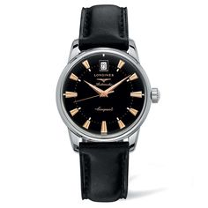 Longines Heritage Conquest Round Black Dial Steel Case Men's Classic Watch