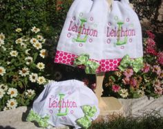 Personalized Embroidered Burp Cloths and Diaper Cover Baby Gift Set