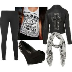 """Rocker Babe"" by modelmaterialgirl on Polyvore.  Love the shirt and shoes."