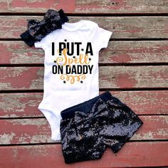 I Put A Spell On Daddy Baby Girl Bodysuit by GLITTERandGLAMshop