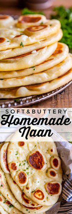 Homemade Naan Bread, Recipes With Naan Bread, Indian Bread Recipes, Recipe For Flatbread, Garlic Naan Bread Recipe Easy, Recipe For Bread, Easy Homemade Bread Recipes, Flat Bread Recipe Easy, Indian Naan Bread Recipe
