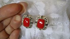 New-sterling-silver-marcasite-and-bezel-set-red-coral-earrings