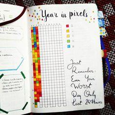 How was your day today ? This year I decided to track my days and making a pixel picture of 2016 ! // Comment s'est passée votre journée aujourd'hui ? Cette année j'ai décidé de colorier un pixel pour chaque journée de 2016 pour créer un tableau coloré à la fin de l'année !