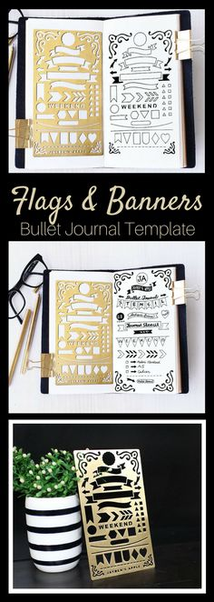 Perfect Bullet Journal pages! Banners, flags and decorative corners #bulletjournaling #planner #ad #stencils