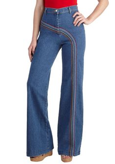 Rainbow With Me Jeans - Cotton, Denim, Blue, Red, Orange, Green, White, Casual, Vintage Inspired, 70s, High Waist, Flare / Bell Bottom, Print, Fall, Top Rated, Exclusives