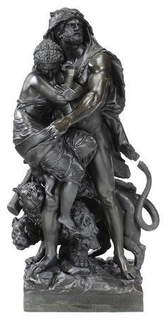 """Lot 280 from Brunk Auctions May 11-12, 2013 Sale - Ernest Rancoulet -   (French, 19th/20th century) Hercules, Athena and Cerebere, signed on base """"Rancoulet"""", foundry mark """"Cast by the Henry Bonnard Bronze Co./New York 1883"""", bronze, dark black with some green patination, 34 in. - Estimate $8,000 to $10,000"""