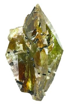 Titanite from Brazil. Titanite or sphere (from the Greek sphenos) meaning wedge, is a calcium titanium nesosilicate mineral. Trace impurities of iron and aluminum are typically present.