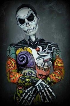 Tim Burton's The Nightmare Before Christmas body paint #Disney                                                                                                                                                                                 Más
