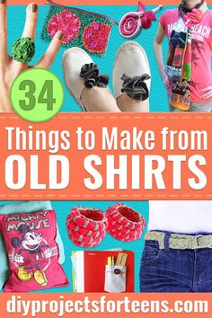 DIY Ideas With Old T-shirts - Tshirt Makeovers and Transformation Ideas for Tee Shirts - DIY Clothes to Make On A Budgert - Creative and Easy Fashion Ideas for Teen Girls, Teenagers, Adults - Cut and Refashion Your Shirts With These Step by Step Tutorials Diy Clothes Making, Diy Summer Clothes, Diy Clothes Videos, Diy With Old Clothes, Teens Clothes, Band T Shirts, Old Shirts, Shirts For Teens, Diy For Teens