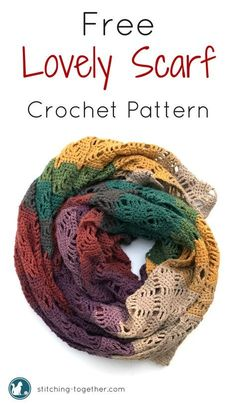 Free pattern to make this gorgeous crochet wrap. Simple to make and works as a cozy scarf. Made in Lion Brand Mandala Yarn in Warlock the colors make the perfect shawl for fall.