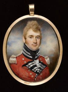 Charles Jagger (British, An Officer, wearing scarlet coat Military Officer, Military Uniforms, Miniature Portraits, Miniature Paintings, Sense Of Life, Antique Frames, Sketch Painting, Napoleonic Wars, Wood Bridge