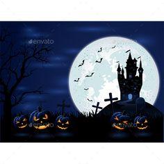 Dark Halloween night with Moon and pumpkins, illustration.