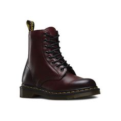 Dr. Martens Pascal 8-Eye Boot (595 RON) ❤ liked on Polyvore featuring shoes, boots, ankle booties, ankle combat boots, genuine leather boots, leather bootie, real leather combat boots and slip resistant boots